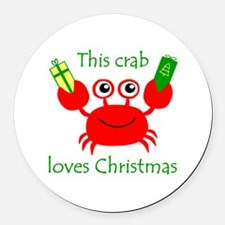 Christmas Crab Round Car Magnet