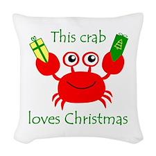 Christmas Crab Woven Throw Pillow