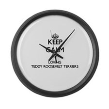 Keep calm by loving Teddy Rooseve Large Wall Clock