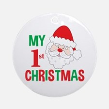 My 1st Christmas Santa Claus Ornament (round)