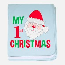 My 1st Christmas Santa Claus baby blanket