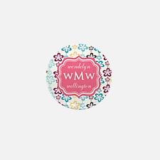 Pink Chic Floral Print Monogram Mini Button
