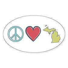Peace Love Michigan Decal