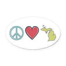Peace Love Michigan Oval Car Magnet