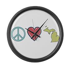 Peace Love Michigan Large Wall Clock