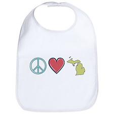 Peace Love Michigan Bib