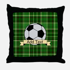 Soccer Pitch Plaid Throw Pillow