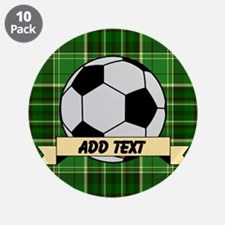 """Soccer Pitch Plaid 3.5"""" Button (10 pack)"""
