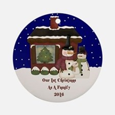 2016 First Christmas As A Family Ornament (round)