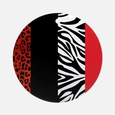 Red Leopard and Zebra Animal Print Ornament (Round