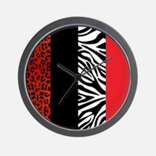 Red Leopard and Zebra Animal Print Wall Clock