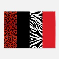 Red Leopard and Zebra Animal Print 5'x7'Area Rug