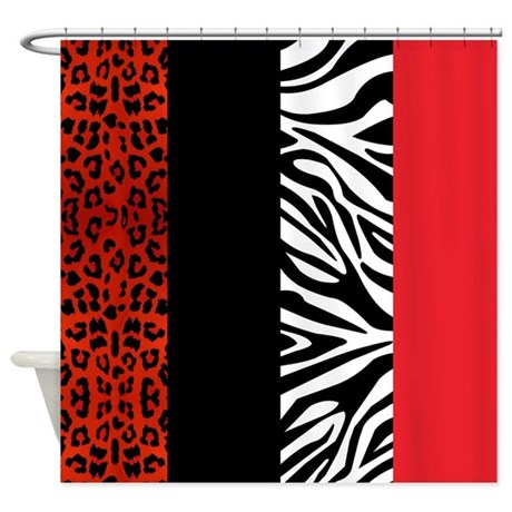 red leopard and zebra animal print shower curtain by cutetoboot