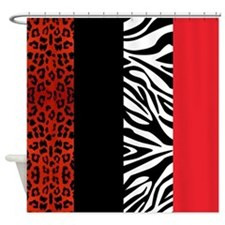 Red Leopard and Zebra Animal Print Shower Curtain