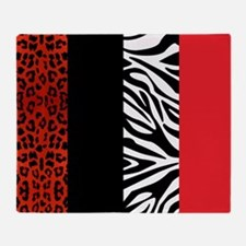 Red Leopard and Zebra Animal Print Throw Blanket