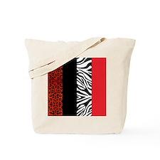 Red Leopard and Zebra Animal Print Tote Bag