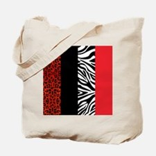 Red Leopard and Zebra Animal Print Tote Bag