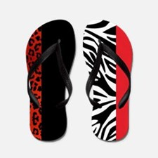 Red Leopard and Zebra Animal Print Flip Flops