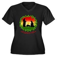 Cute Nativity Women's Plus Size V-Neck Dark T-Shirt