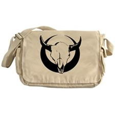 Bull Skull Over Crescent Moon Messenger Bag