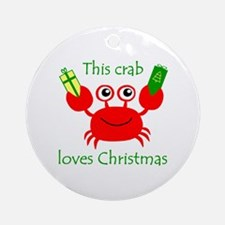 Christmas Crab Ornament (Round)
