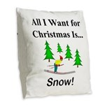 Christmas Snow Burlap Throw Pillow