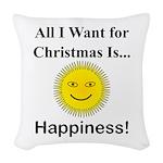 Christmas Happiness Woven Throw Pillow