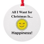 Christmas Happiness Round Ornament
