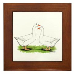 Tufted Geese Framed Tile