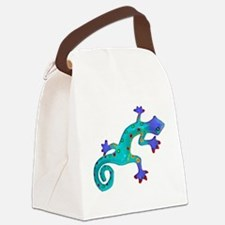Turquoise Lizard with Red Toes Canvas Lunch Bag