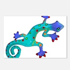 Turquoise Lizard with Red Postcards (Package of 8)
