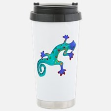 Turquoise Lizard with R Stainless Steel Travel Mug