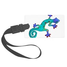 Turquoise Lizard with Red Toes Luggage Tag