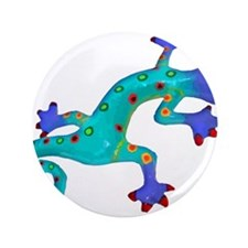 """Turquoise Lizard with Red Toes 3.5"""" Button"""