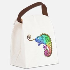 Cool Colored Chameleon Canvas Lunch Bag