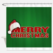 Merry Christmas Santa Hat Shower Curtain