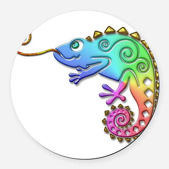 Cool Colored Chameleon Round Car Magnet
