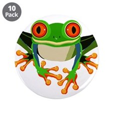 """Colorful Tree Frog 3.5"""" Button (10 pack)"""