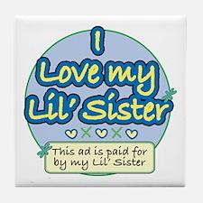 Lil' Sister - Blue Tile Coaster