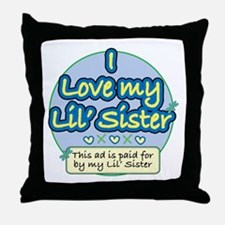 Lil' Sister - Blue Throw Pillow