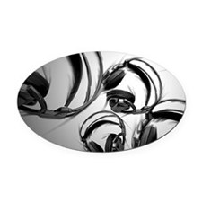 Headphones - Gray Oval Car Magnet