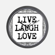 Vintage Typography Live Laugh Love Wall Clock