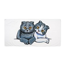 Scottish Fold Pair Beach Towel