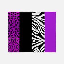 Purple Leopard and Zebra Animal Prin Throw Blanket