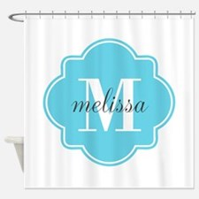Turquoise Custom Personalized Monog Shower Curtain
