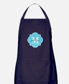Turquoise Custom Personalized Monogra Apron (dark)