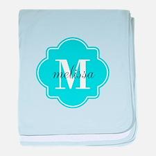 Turquoise Custom Personalized Monogra baby blanket