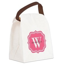 Pink Custom Personalized Monogram Canvas Lunch Bag
