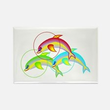 Colorful Flying Dolphins Rectangle Magnet