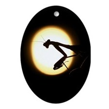 Praying Mantis Silhouette Ornament (Oval)